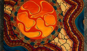 Indigenous Australian artwork, using a mixture of reds, yellows and blues.